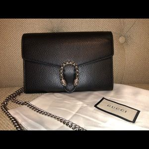 Gucci Dionysus Wallet on Chain Bag Black Leather